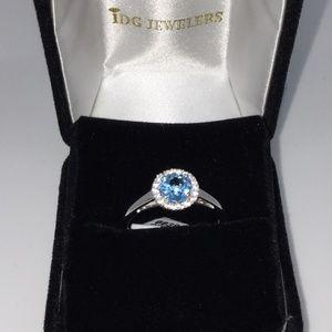 Jewelry - 1.00ct Genuine Blue Topaz with Sapphire Ring Sz 8